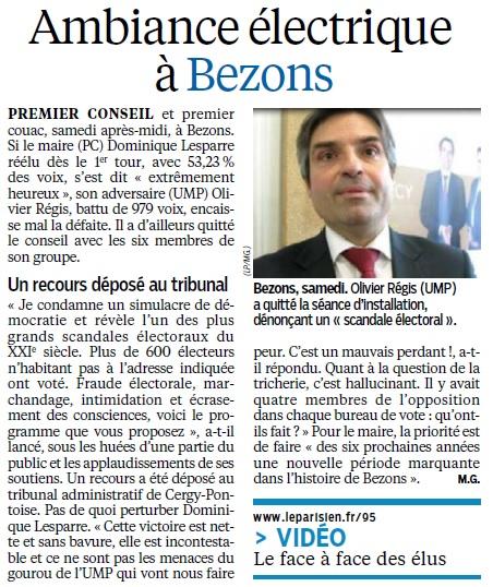 premier conseil electrique a Bezons 31 mars le parisien